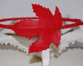 Red Maple leaf headband from the whimsical forest collection.