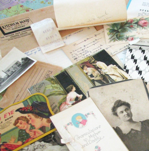 Girly Lot of 25 Antique and Vintage Paper Items..Recipe Booklets, Aged Photos, Patterns, and Beautiful Ads