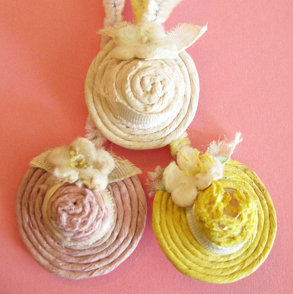 Floral Toppers...Vintage Hat Shaped Decorations/Chenille Stems
