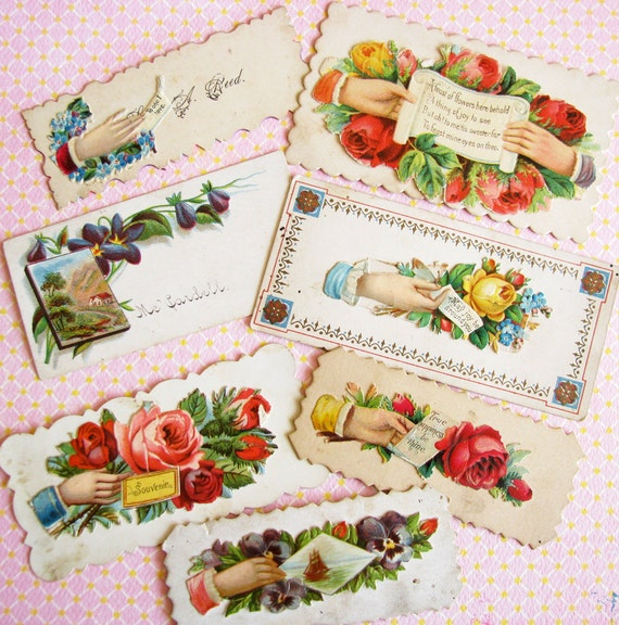 A Feast of Flowers...Aged Old Antique Calling Cards