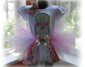 Pink and Green Personalized Birthday Number Tutu Set and Custom Matching Bow