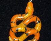 Valentine Gift Cornsnake Pumpkin Orange Corn Snake Polymer Clay Necklace Pendant Checkered Belly Okatee  Jewelry
