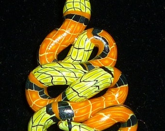Halloween Colored Snake Pendant Autumn Colors Polymer Clay Charm