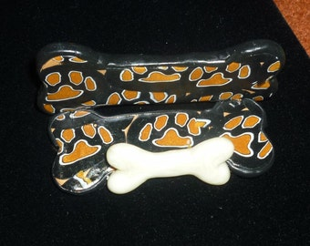 Give the dog a bone  Unique Dog prints and Bone Business card holder Stocking stuffer