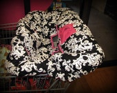 Shopping Cart Cover Black and White Damask with Hot Pink
