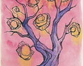Tree with Magic Lights ORIGINAL ACEO