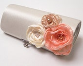 Shabby Chic Bridal Clutch or Pink Peach Bridesmaid Clutch - Kisslock Snap Bouquet Clutch - Colors - Ivory Pale Pink Peach