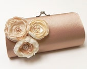 Bridal Clutch or  Bridesmaid Clutch Set in Dark Champagne - Ivory Flower Blooms - Kisslock Snap Petite Bouquet Clutch