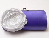 Bridesmaid Clutch Violet Purple Clutch &  Snow White Flower - Bridal Clutch - Kisslock Snap Clutch - Bouquet Clutch