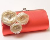 Bright Coral Clutch - Bridesmaid Clutch - Bridal Clutch - Kisslock Snap Bouquet Clutch - Trio Of Ivory Flower Blossoms Rhinestones & Pearls
