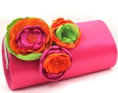 Bridesmaid Clutch or Bridal Clutch - Fuchsia Pink Clutch - Green Orange & Fuchsia Pink Flower Bouquet Clutch