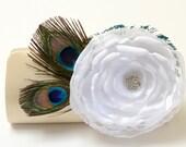 Champagne Cream Bridal Clutch - Bridesmaid Clutch - Peacock Feather Clutch With Rhinstones  - Kisslock Snap Bouquet Flower Clutch