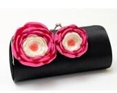 Black Clutch - Bridesmaid Clutch - Bridal Clutch - Ivory & Fuchsia Pink Flowers - Bouquet Clutch