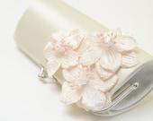 Shabby Chic Ivory Bridal Clutch - Bridesmaid Clutch - Petite Bouquet Clutch -  Shabby Clutch - Ivory Velvet Flowers
