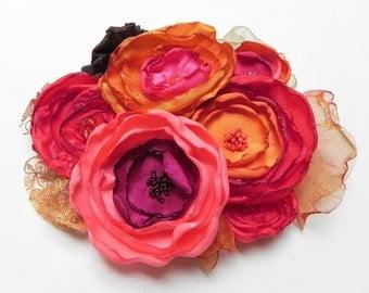 Alice In Wonderland Inspired Hair Clip Facinator - Fuchsia Pink Magenta Tropical Orange Gold - SALE