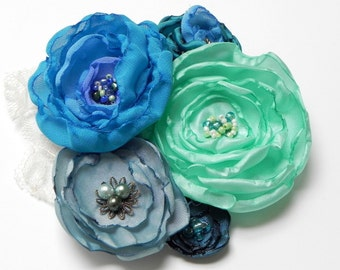 Something Blue ~ Tropical Ocean Tides Hair Clip Facinator - Blue Aqua Teal Turquoise Green Royal - SALE