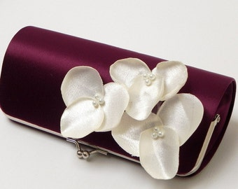 Eggplant Bridesmaid Clutches or Bridal Clutch with Ivory Flower Blooms - Bouquet Clutch - Kisslock Snap - Plum, Royal Purple & Eggplant
