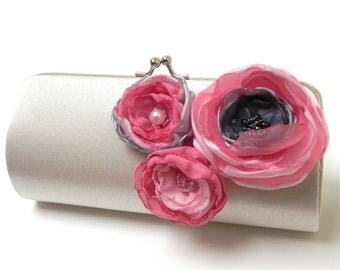 Ivory Gray Pink Bridal Clutch or Bridesmaid Bouquet Clutch - Kisslock Snap Frame - Rosy with a chance of Rain