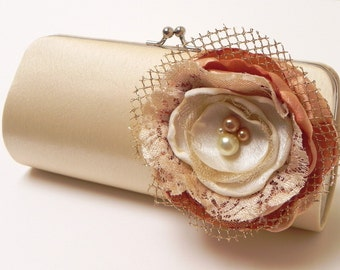 Bridal Clutch Champagne Cream Vintage Ivory - Bridesmaid Clutch - Kisslock Snap Petite Bouquet Clutch - Ivory Lace & Gold Flower Blossom