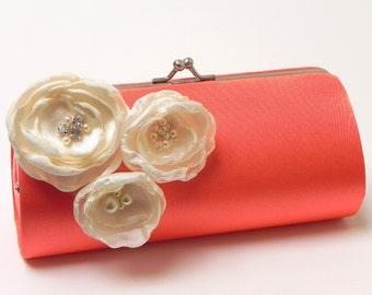 Bright Coral Clutch - Bridesmaid Clutch - Bridal Clutch - Kisslock Snap Bouquet Clutch - Trio Of Ivory Flower Blossoms Rhinestones & Pearls