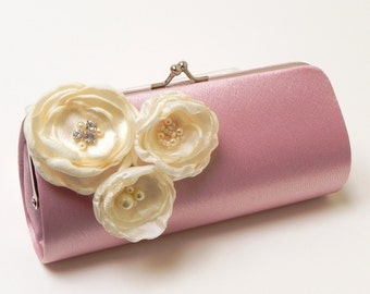 Bridal Clutch Dusty Rose Clutch - Bridesmaid Clutch - Shabby Chic Bouquet Clutch - Ivory Flower Blossoms with Rhinestones