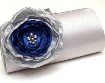 Silver & Royal Blue Bridal Clutch - Bridesmaid Clutch Rhinestones Pearls Kisslock Silver Clutch
