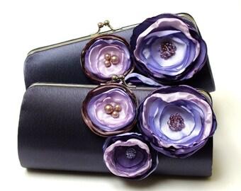Dark Gray Charcoal & Purple Clutch - Bridesmaid Clutch - Bridal Clutch - Bouquet Clutch - Flower Clutch - Lilac Lavender Grape Purple