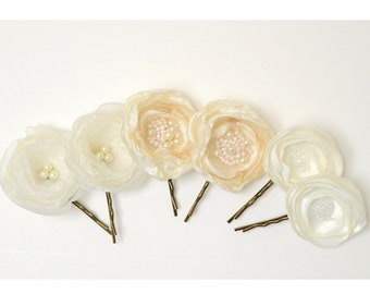 Bridal Flower Hair Pins -  Ivory Flower Pins - 6 Flowers on Bobby Pins - Bridesmaid or Flower Girl Hair Clips
