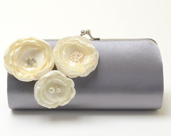 Bridesmaid Clutch Light Gray Clutch - Bridal Clutch - Ivory Flower Blossoms with Rhinestones - Kisslock Snap Bouquet Clutch