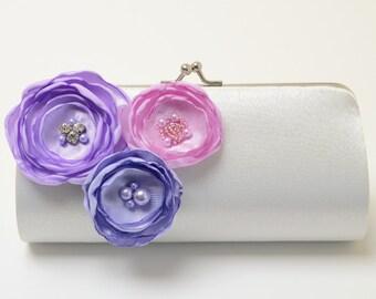 Ivory Clutch - Bridal Clutch - Bridesmaid Clutch Set - Lavender Lilac Orchid Purple Flower Blossoms - Kisslock Snap Bouquet Clutch