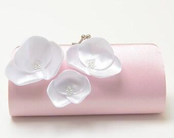 Blush Rose Quartz Pink Bridal Clutch or Bridesmaid Bouquet Clutch with White Orchid Flowers