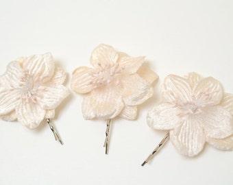 Bridal Flower Hair Pins -  Ivory Velvet Flower Pins - 3 Flowers on Bobby Pins