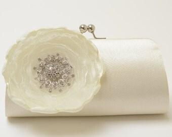 Rhinestone Bridal Clutch - Bridesmaid Clutch - Ivory Clutch - Bouquet Flower Clutch - Medium Size - SALE