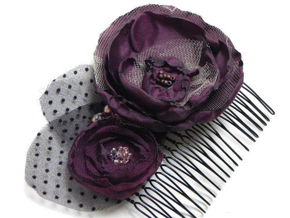 Aubergine Eggplant Purple Flower Hair Comb -  Black Velvet Polka Dot Leaves Purple Crystals Pearl Beading - SALE - LAST ONE