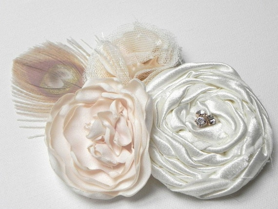 Ivory Cream Flower Bridal Hair Clip Fascinator - Ivory Peacock Feather - Add to your birdcage Veil - Sash Corsage PinSALE -