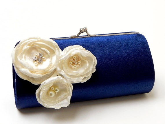 Bridesmaid Clutch Navy Blue Bridal Clutch - Ivory Flower Blossoms with Rhinestones - Kisslock Snap Bouquet Clutch -