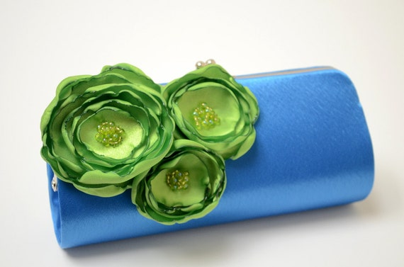 Royal Blue Clutch - Bridal Clutch - Bridesmaid Clutch Spring Green Flower - Bouquet Clutch - Kisslock Snap Petite Clutch