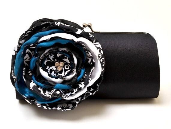 Bridesmaid Clutch - Bridal Clutch - Damask Clutch Black White & Teal Flower - Bouquet Clutch