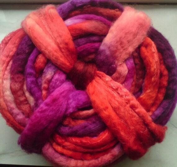 """GarnGalleriet BFL/silk top, handpainted in colorway """"Rose Petal"""", 200 grams / 7 oz."""