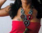 Red Poppy flower, Crochet statement necklace