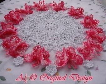 PDF FILES, Magic Wings, Crochet pattern, 3d butterflies doily set, doilies, patterns, roses, pineapples