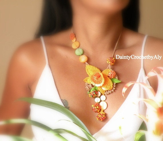 Crocheted Statement necklace, Sunset in the Island