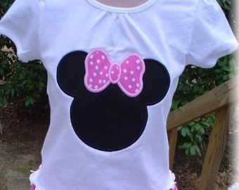 Custom Boutique Minnie Mouse Appliqued Personalized shirt