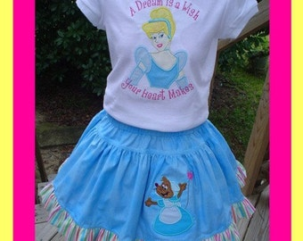 CUSTOM Cinderella Twirl Skirt and Shirt  ...... Tee Includes appliqued Cinderella and Twirl has Appliqued Mouse