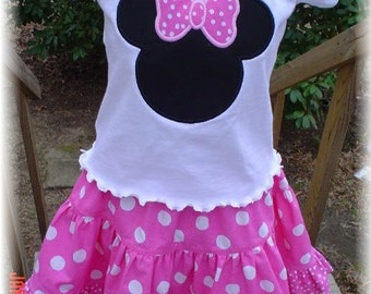 CUSTOM MiNNI MOUSE TWIRL SKIRT AND SHIRT   PixieChix