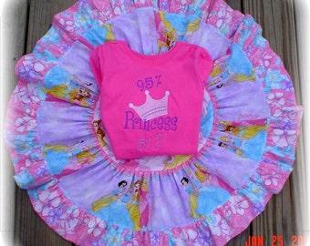 Custom Boutique PRINCESS Twirl Skirt and Custom Appliqued Shirt