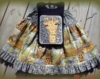 CUSTOM SAFARI GIRAFFE APPLIQUED SHIRT and TWIRL SKIRT        PixieChix