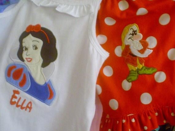 Princess Snow and Grumpy Custom Shorts and Appliqued Shirt
