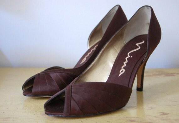 Vintage NINA Satin Peep Toe Shoes sz 9