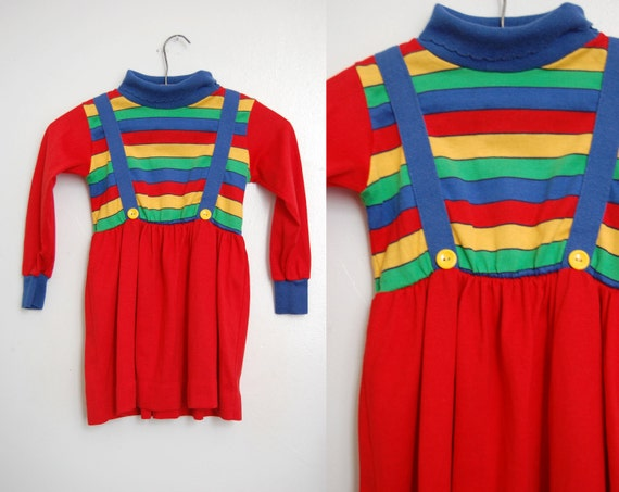 Vintage 1980s Rainbow Brite Girls Dress